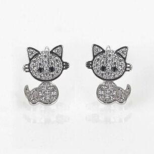 Girls Moving Kitten Silver Plated Earrings
