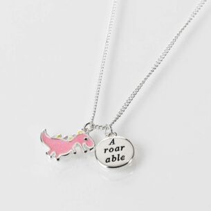 Girls Pink Dinosaur Silver Plated Necklace