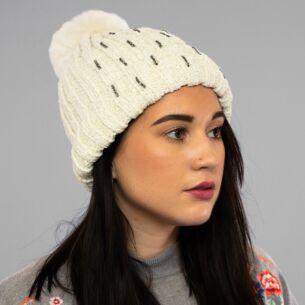 White Chenille Sparkle Pom-Pom Hat