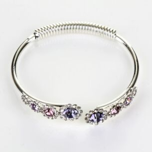 Silver Plated Purple Crystal Flowers Open Bangle