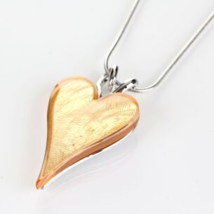 Modern Etched Effect Boxed Gold Heart Necklace