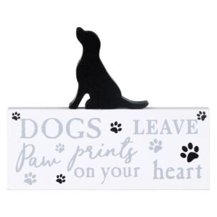 'Dogs Leave Paw Prints On Your Heart' Labrador Plaque