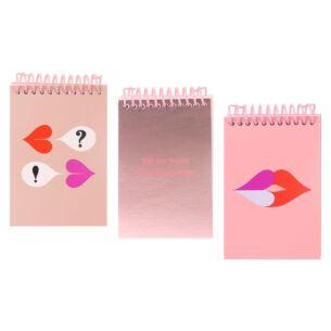 Heart Lips Set of 3 Spiral Notepads
