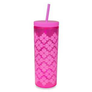 Neon Pink Spade Flower Tumbler with Straw
