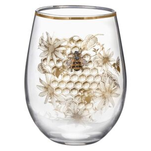 Honeycomb Bee Stemless Glass