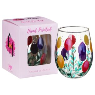 Hand Painted Tulips Stemless Gin Glass