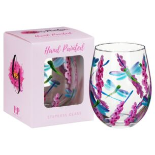 Hand Painted Dragonfly With Pink Flowers Stemless Gin Glass