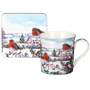 Christmas Robins Mug & Coaster Set