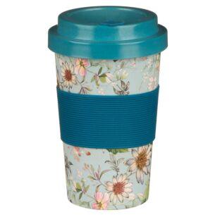 Small Floral Blue Bamboo Travel Mug