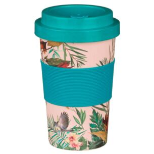 Small Floral Pink and Turquoise Bamboo Travel Mug