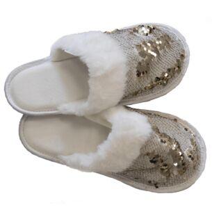 White & Bronze Sequin Slippers