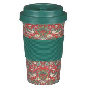 William Morris Red Strawberry Thief Small Travel Mug