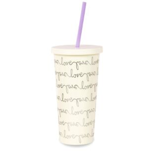 Kate Spade New York Love Script Tumbler with Straw