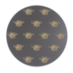 Gold Glitter Bee Mirrored Candle Plate