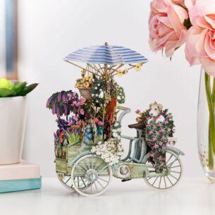 """""""Flower Seller's Bike"""" Blue 3D Birthday Card"""