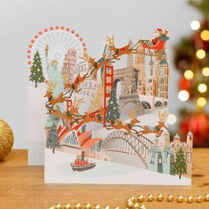 Around the World Zig Zag 3D Christmas Card
