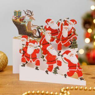 Santa Power Zig Zag 3D Christmas Card