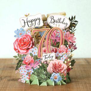 """""""Birthday Flowers 70"""" 3D Birthday Card"""