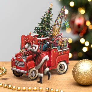 'Santa's Pickup' 3D Christmas Card