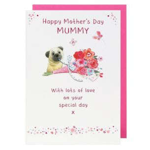 Mummy Pug With Bouquet Mother's Day Card