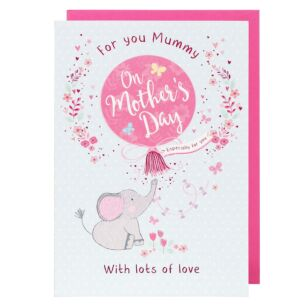 Mummy Pink Elephant Balloon Mother's Day Card