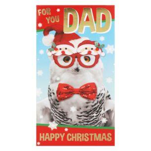 'Dad' Funny Owl Christmas Card