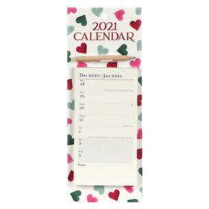 Pink & Green Hearts 2021 Magnetic Memo Calendar