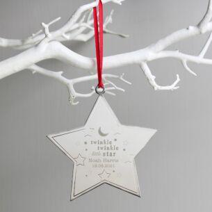 Personalised 'Twinkle Twinkle' Star Metal Decoration