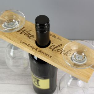 Personalised 'Wine O'Clock' Wine Glass & Bottle Butler