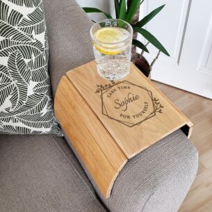 Personalised 'Take Time For Yourself' Wooden Sofa Tray