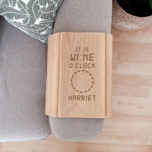 Personalised 'It is Wine O'Clock' Wooden Sofa Tray