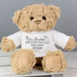 Personalised Geometric Leaf Teddy Bear