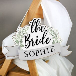 Personalised 'The Bride' Wooden Hanging Decoration