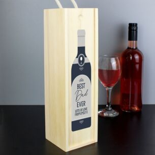 Personalised Text Grey Wooden Wine Bottle Box