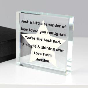 Personalised 'Star Poem' Large Crystal Token