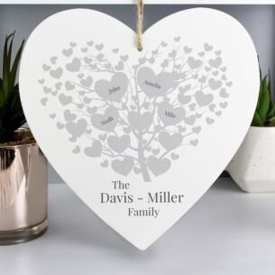 Personalised 'Family Tree' Large Wooden Heart Hanging Decoration