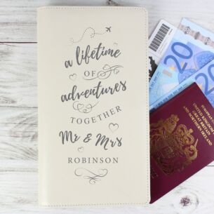 Personalised 'A Lifetime Of Adventures' MR & MRS Travel Document Holder