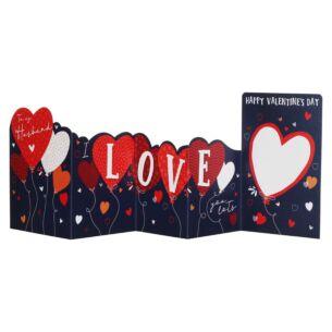 Heart Balloons Husband Zig Zag Valentine's Day Card