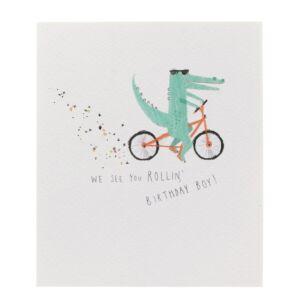 Paperlink Crocodile on Bike Birthday Card