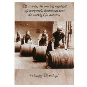 Rhubarb Pie 'Weekly Gin Delivery' Lockdown Birthday Card