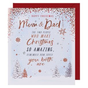 Merry & Bright Mum and Dad Christmas Card