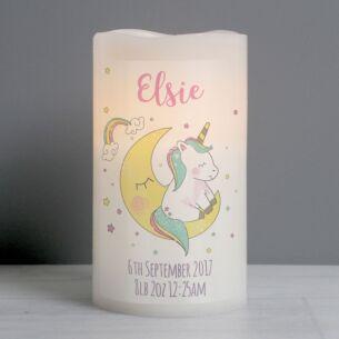 Personalised Baby Unicorn LED Candle
