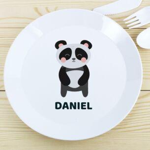 Personalised Plastic Panda Plate
