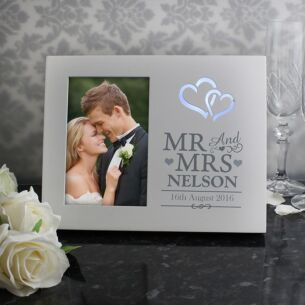 Personalised Hearts Mr & Mrs Light-Up Frame