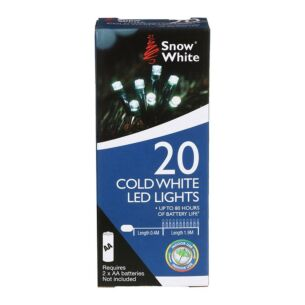 20 Cool White Battery Operated LED Christmas Lights
