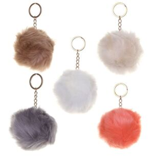 Faux-Fur Pom Pom Keychain