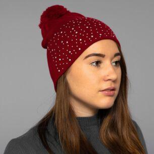 Red Diamond Bobble Hat