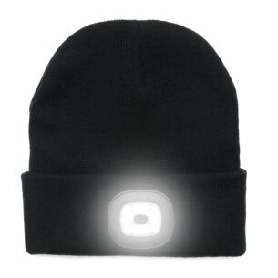 Light Up Rechargeable USB Beanie Hat Black