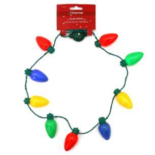 Flashing Bulbs Christmas Necklace