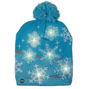 Blue LED Light Up Christmas Bobble Hat